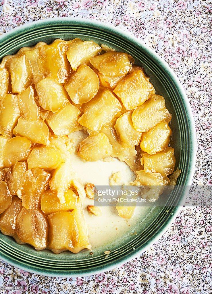 Plate of baked apple tart : Stock Photo