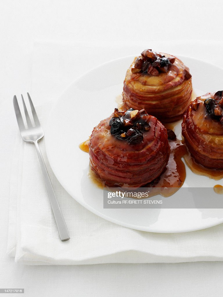 Plate of baked apples with fruit : Stock Photo