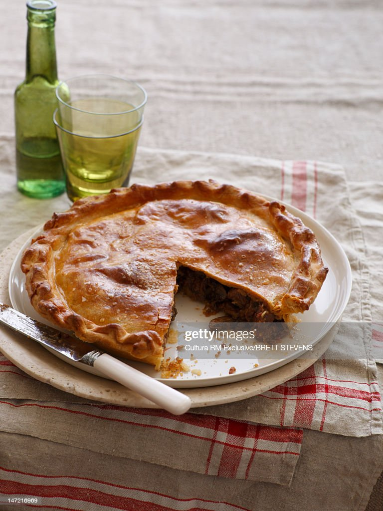 Plate of baked meat pie