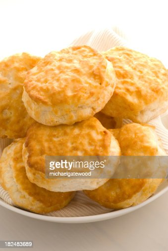 Plate of Biscuit on High Key background