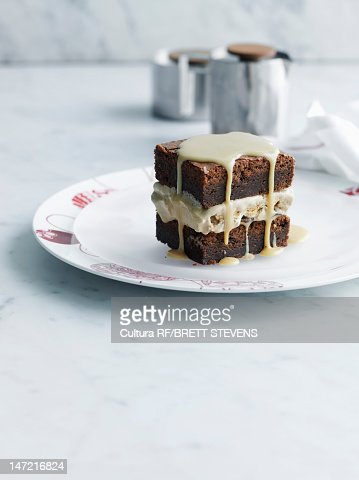 Plate of brownie with frosting : Stock Photo