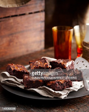 Plate of brownies on table : Stock Photo