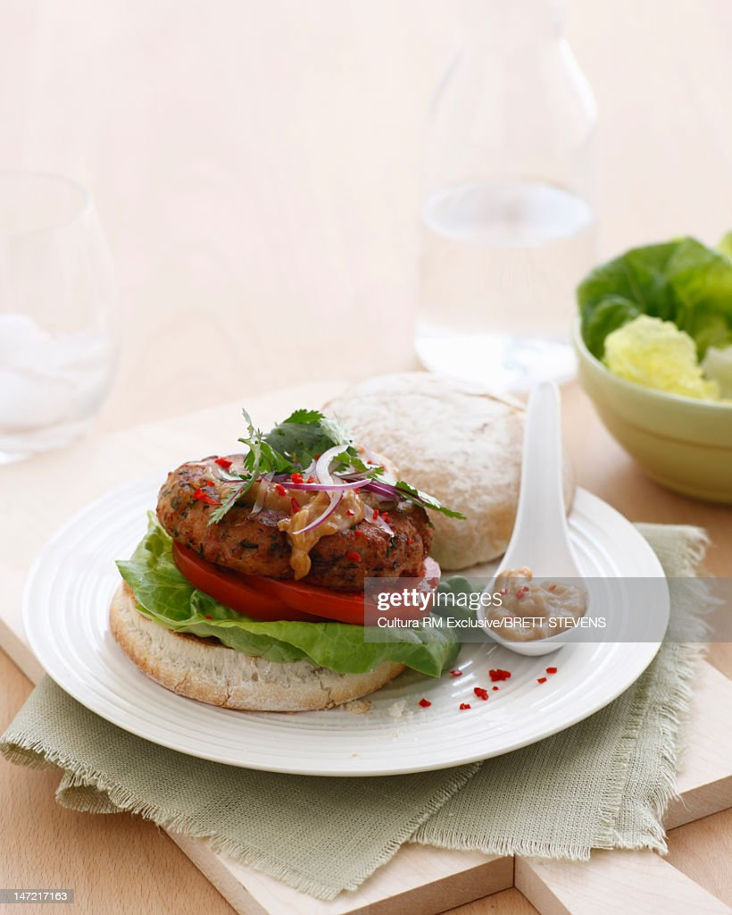 Plate of burger with salad : Stock Photo