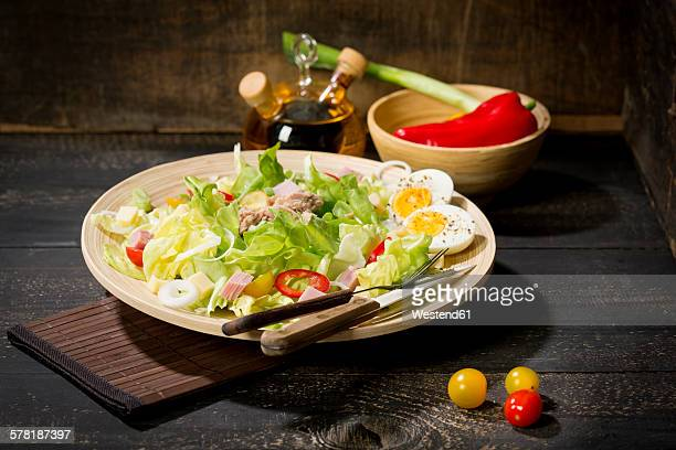 Plate of butterhead lettuce with boiled egg, spring onions, red bell pepper and tuna
