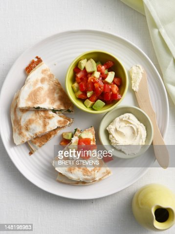 Plate of Cajun quesadillas with salsa