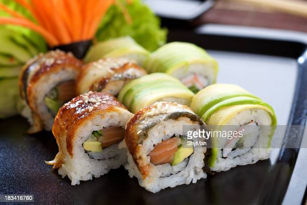 A plate of California sushi rolls