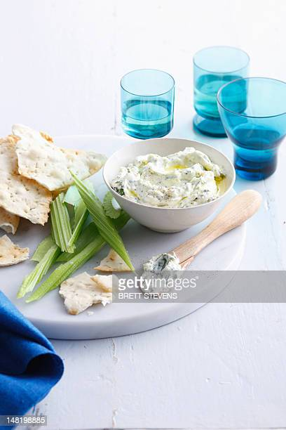 Plate of cheese, crackers and celery
