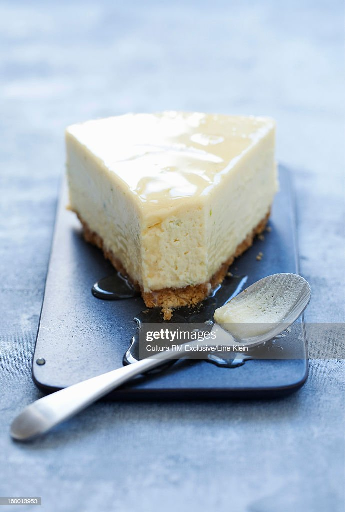 Plate of cheesecake with syrup
