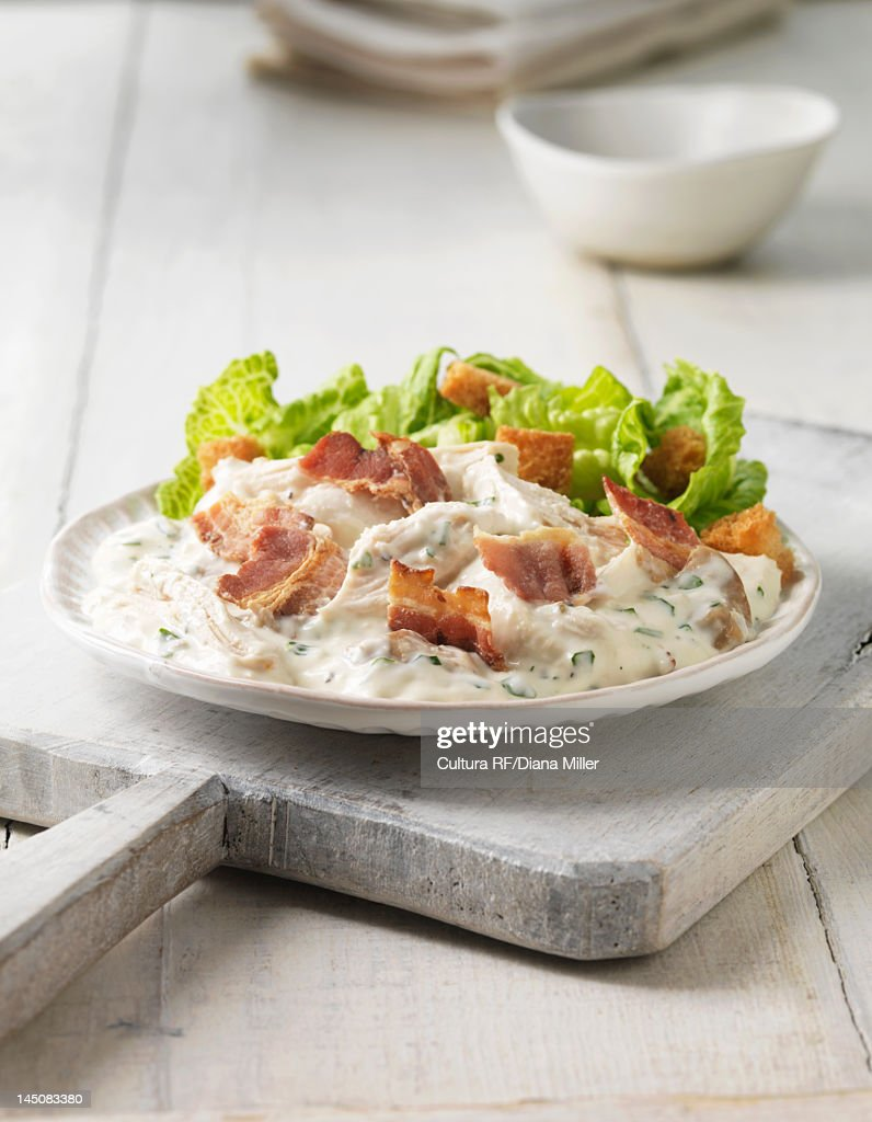 Plate of chicken caesar salad : Stock Photo