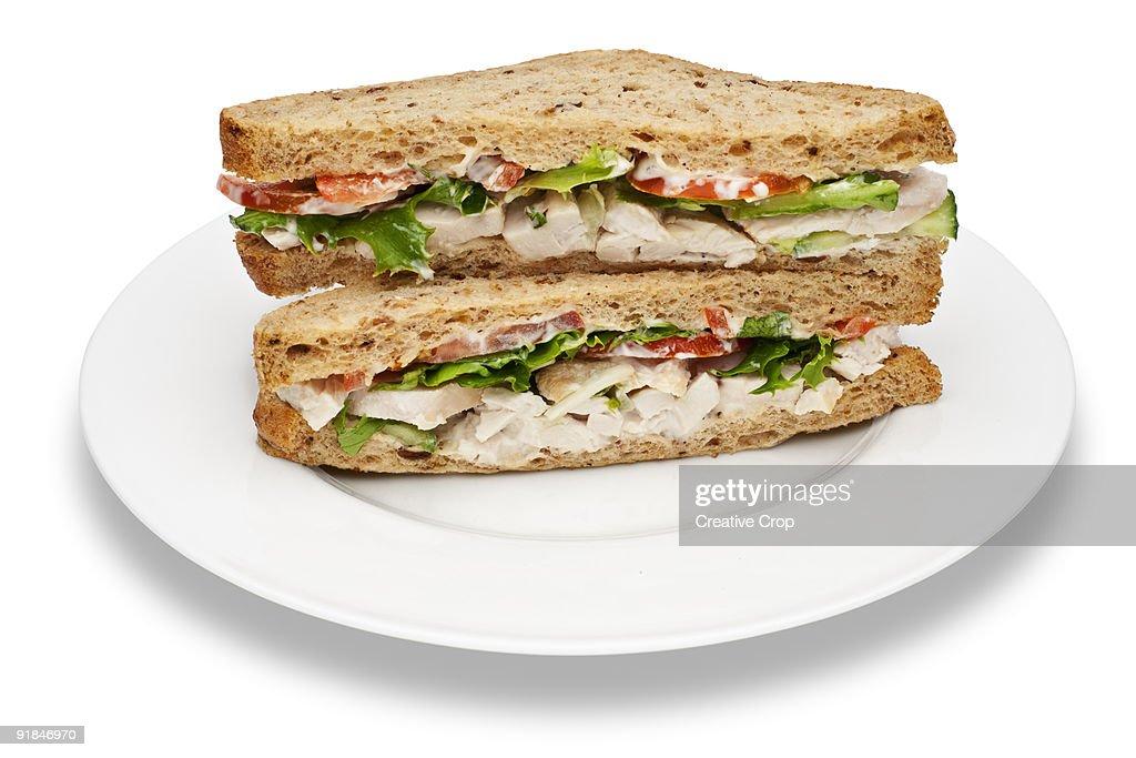 Plate of chicken salad sandwiches