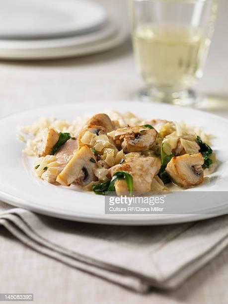 Plate of chicken stroganoff
