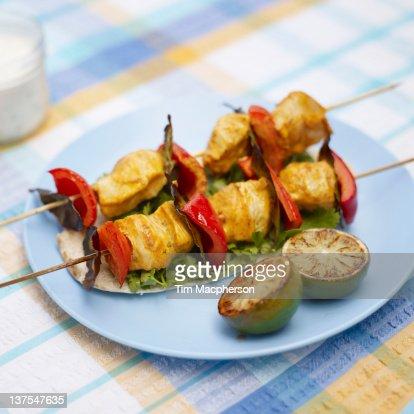 Plate of chicken tikka kebabs
