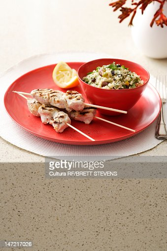 Plate of chicken with rice : Stock Photo