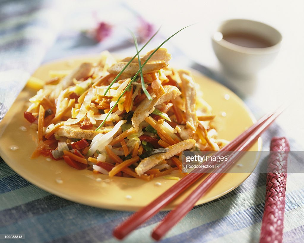 Plate of chicken with vegetables and rice, close-up : Stock Photo