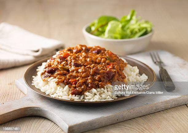 Plate of chili and rice
