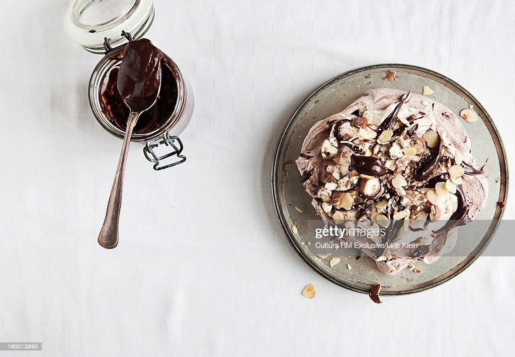 Plate of chocolate mud cake