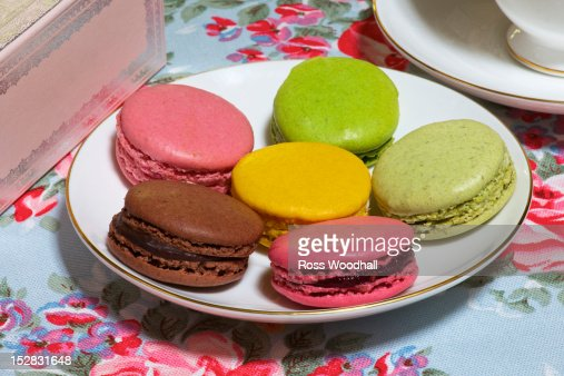 Plate of colorful macaroon cookies : Stock Photo