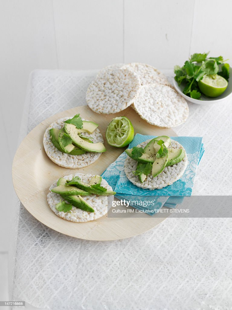 Plate of crackers with avocados