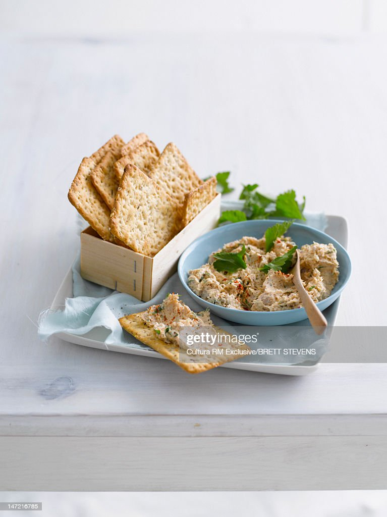 Plate of crackers with pate spread : Stock Photo