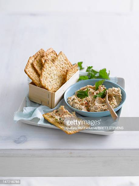 Plate of crackers with pate spread