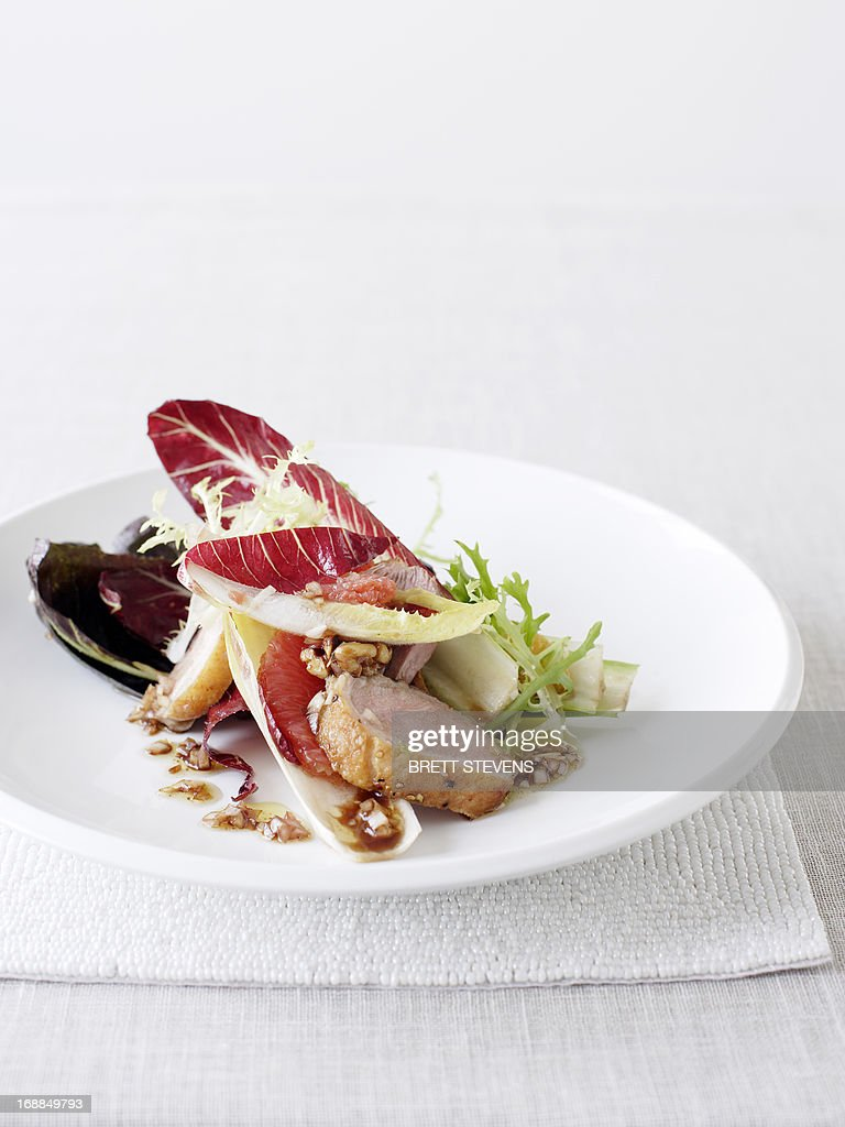 Plate of duck with salad