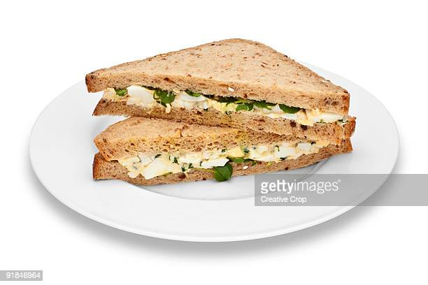 Plate of egg and watercress sandwiches