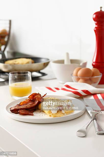 Plate of eggs and bacon
