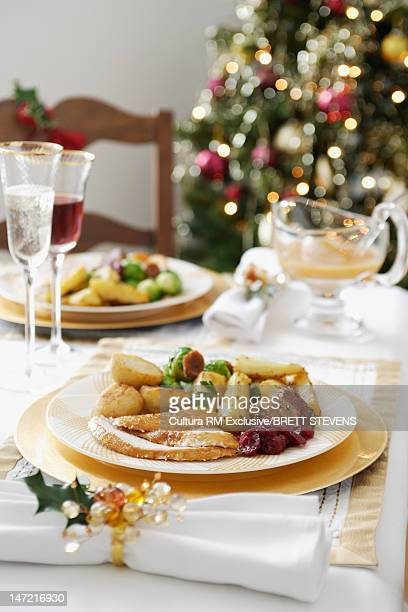Plate of food on Christmas dinner table