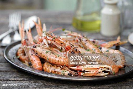 Plate of fresh prawns