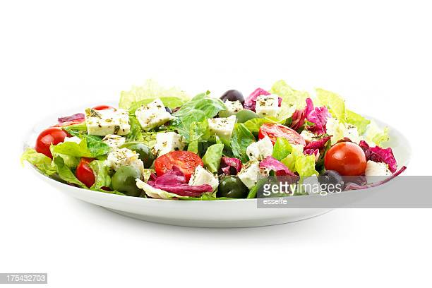 plate of fresh salad with feta cheese, olives and tomato