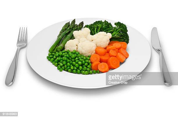 Plate of fresh vegetables with knife and fork