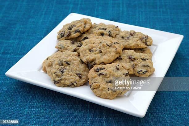 Plate of freshly homemade raisin & oatmeal cookies