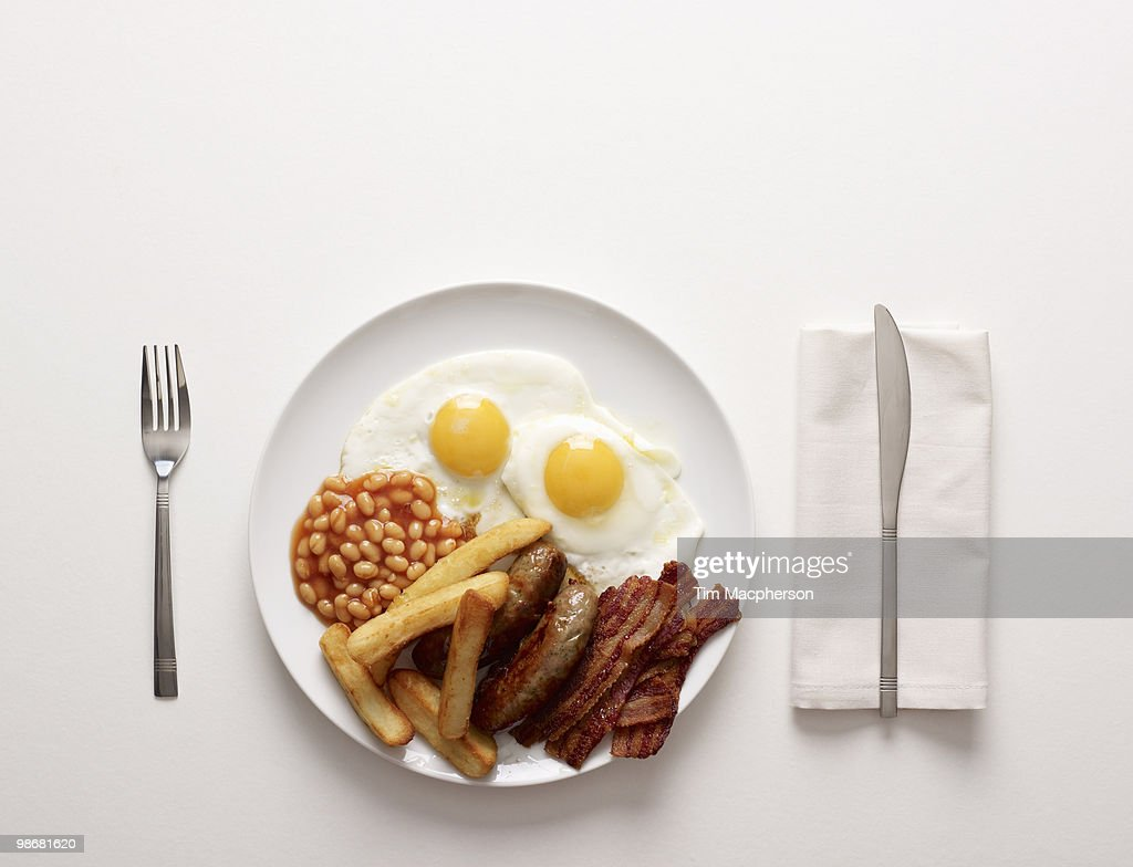 A Plate of fried Breakfast : Stock Photo