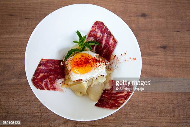 Plate of fried egg with serrano ham