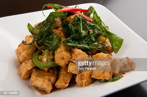 Plate of friend, tofu and vegetables