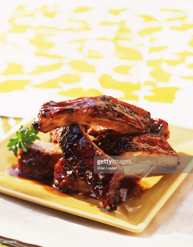 Plate of grilled baby back ribs : Stock Photo