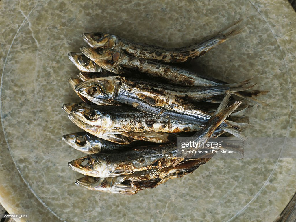 A plate of grilled fish : Stock Photo