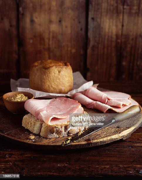 Plate of ham and bread