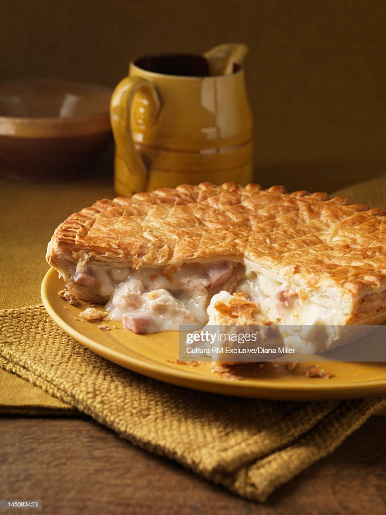 Plate of ham and cheese pie