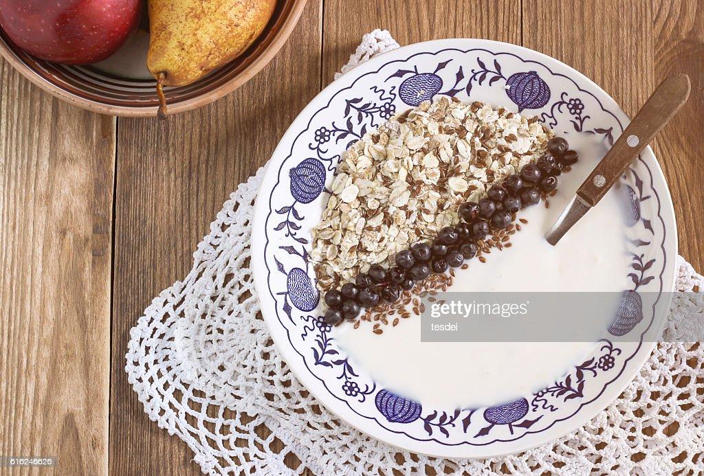 Plate of healthy breakfast : Stock Photo