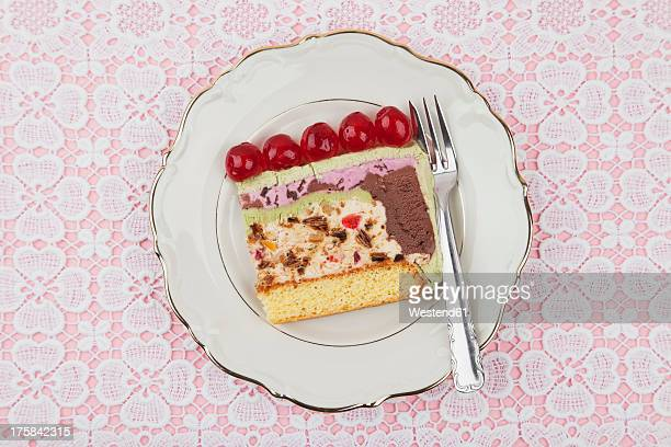 Plate of ice cream cake