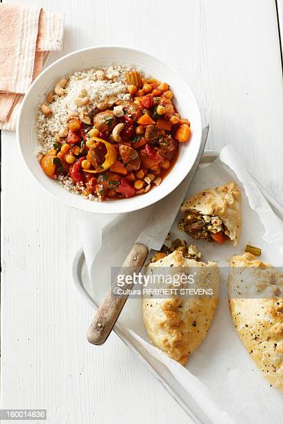 Plate of lamb tagine with baked pastries