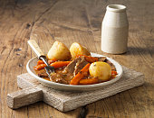 Plate of lamb vegetables and potatoes