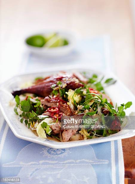 Plate of meat and salad