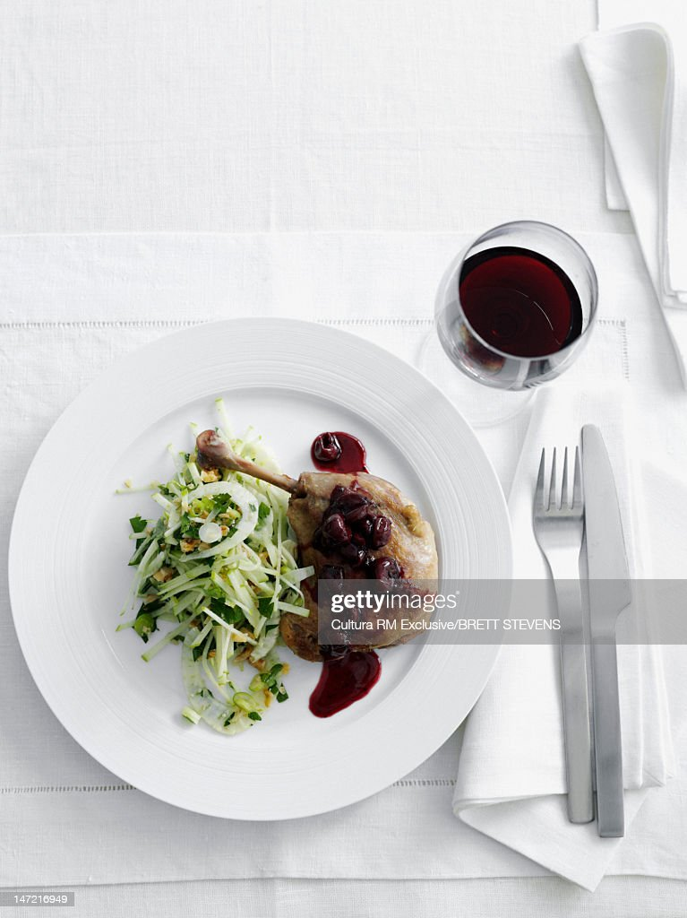 Plate of meat with salad : Stock Photo