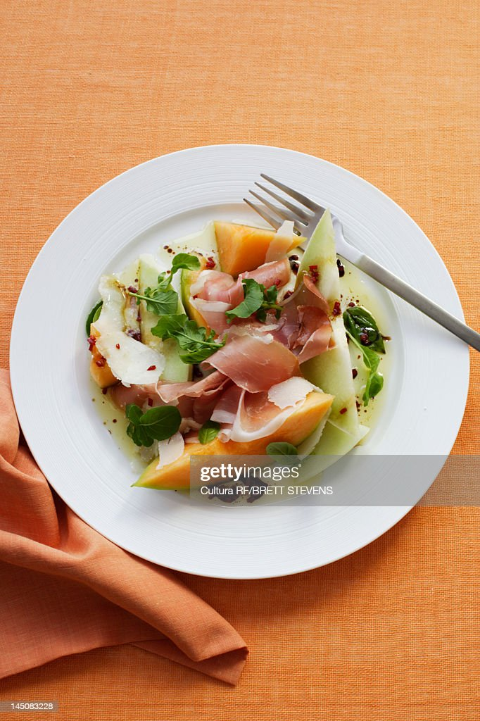 Plate of melon and ham salad : Stock Photo