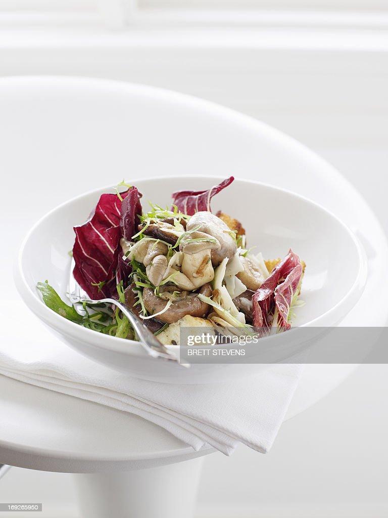 Plate of mushroom salad : Stock Photo