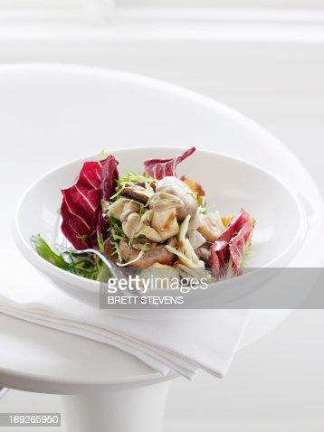 Plate of mushroom salad