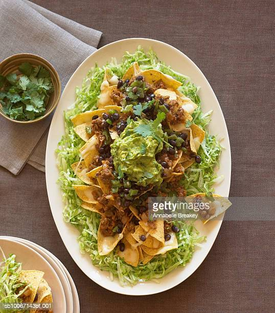 Plate of nachos, elevated view