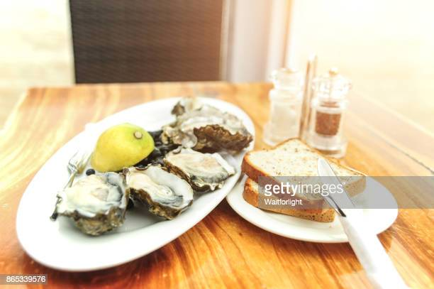 Plate of oysters and bread